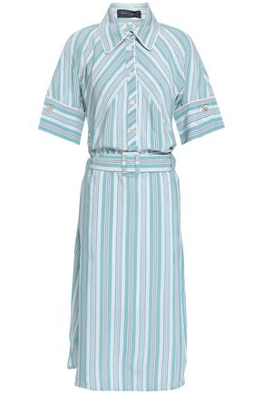 PIAZZA SEMPIONE Belted striped oxford tunic