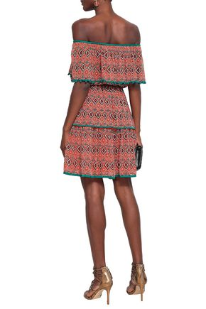 TALITHA Off-the-shoulder printed silk crepe de chine mini dress