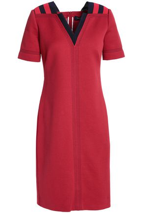 PIAZZA SEMPIONE Intarsia-trimmed cotton-blend mini dress