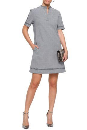 PIAZZA SEMPIONE Houndstooth stretch-cotton jacquard mini dress