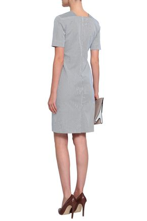 PIAZZA SEMPIONE Houndstooth-trimmed striped denim dress