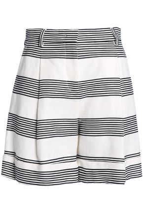 PIAZZA SEMPIONE Striped linen and cotton-blend shorts