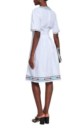 TALITHA Pleated embroidered cotton-poplin dress