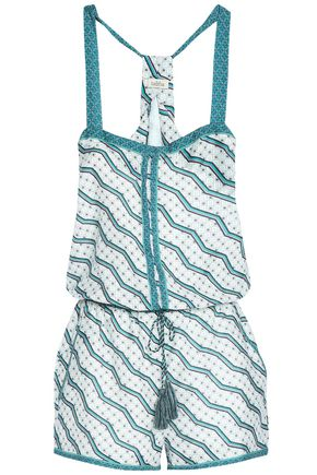 TALITHA Printed cotton and silk-blend playsuit