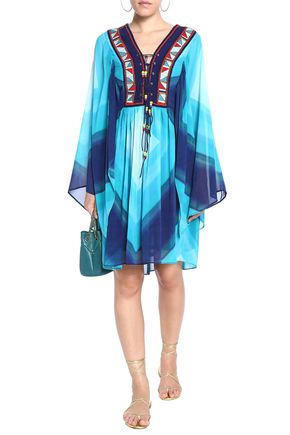TALITHA Lace-up printed silk-georgette dress