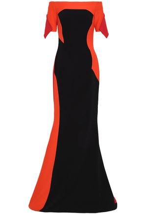 ANTONIO BERARDI Off-the-shoulder color-block crepe and cady gown