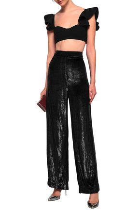 MICHAEL LO SORDO Cropped ruffle-trimmed ribbed-knit top