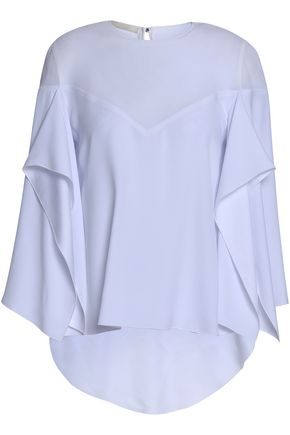 ANTONIO BERARDI Draped paneled georgette and satin-crepe top
