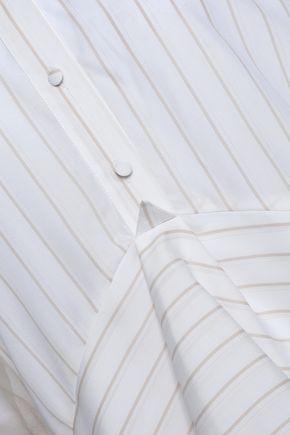 ANTONIO BERARDI Asymmetric organza and striped woven shirt