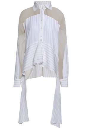 ANTONIO BERARDI Asymmetric organza and striped woven shirt