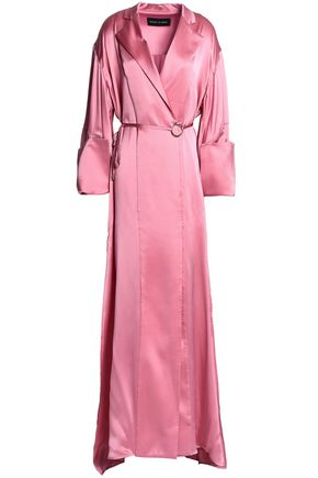 MICHAEL LO SORDO Double-breasted belted silk-satin maxi dress