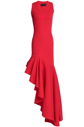 MICHAEL LO SORDO Asymmetric ruffled stretch-ponte gown