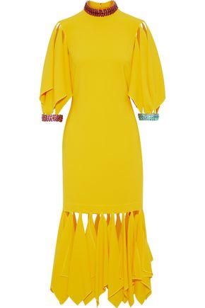 CHRISTOPHER KANE Appliquéd stretch-crepe midi dress
