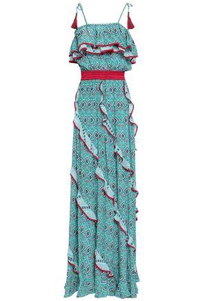 TALITHA Ruffle-trimmed printed silk crepe de chine maxi dress
