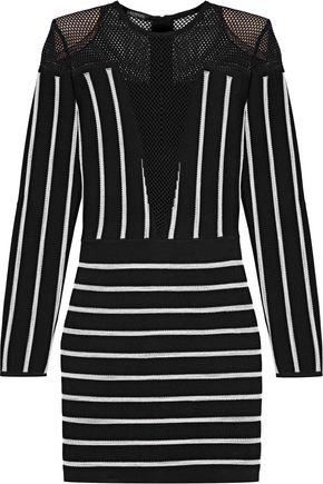 BALMAIN Mesh-paneled striped jacquard-knit mini dress