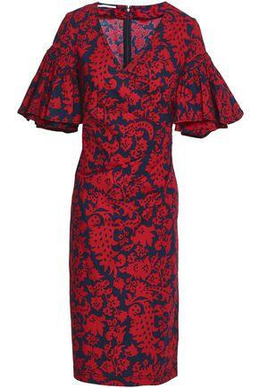 OSCAR DE LA RENTA Wrap-effect printed stretch-cotton dress
