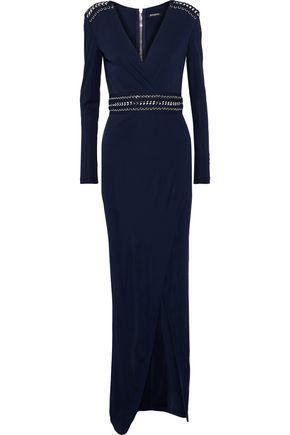 BALMAIN Split-front chain-trimmed jersey gown
