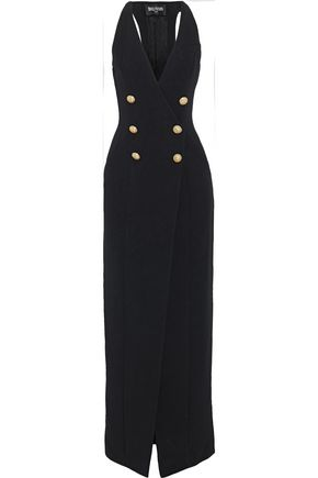 BALMAIN Split-front button-detailed cady gown