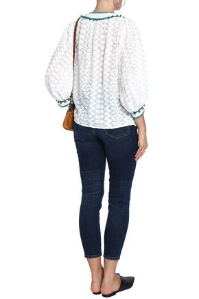 TALITHA Embellished cotton and silk-blend top
