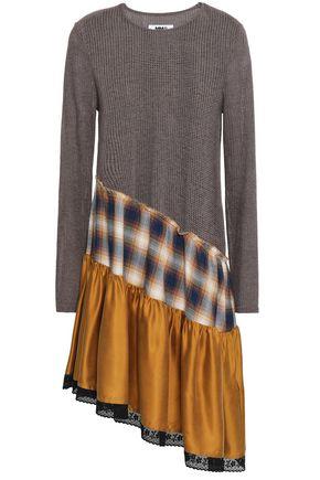 MM6 MAISON MARGIELA Satin and checked jacquard-paneled open-knit dress