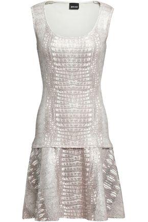 JUST CAVALLI Fluted snake-print knitted mini dress