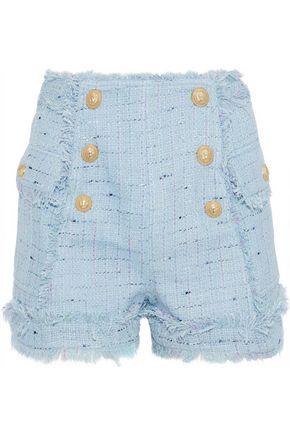 BALMAIN Cotton-blend bouclé-tweed shorts