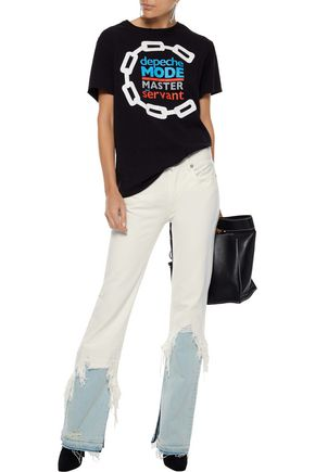 R13 Distressed printed cotton-jersey T-shirt