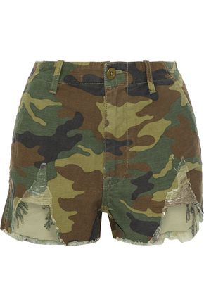 R13 Distressed printed cotton-canvas shorts