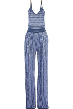 BALMAIN Chain-trimmed metallic crochet-knit jumpsuit