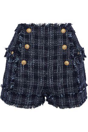 BALMAIN Button-detailed cotton-blend bouclé-tweed shorts