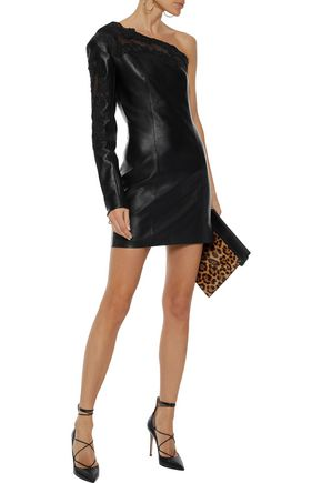 BALMAIN One-shoulder embroidered mesh-trimmed leather mini dress