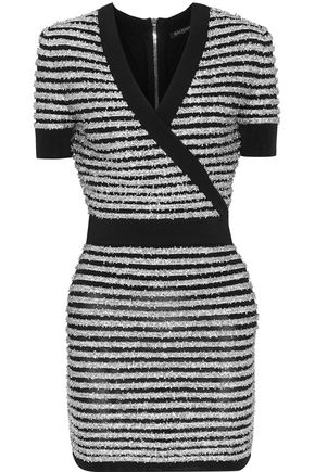 BALMAIN Wrap-effect striped tinsel and stretch-knit mini dress
