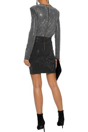 BALMAIN Wrap-effect crystal-embellished stretch-knit mini dress