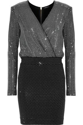 BALMAIN Wrap-effect crystal-embellished stretch-knit mini dress