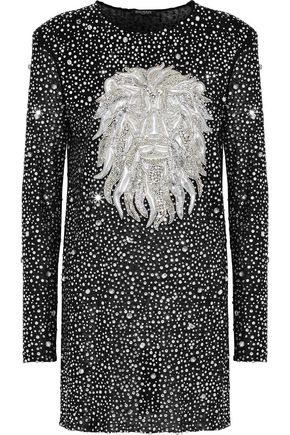 BALMAIN Embellished linen mini dress