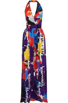 BALMAIN Printed silk-georgette halterneck maxi dress