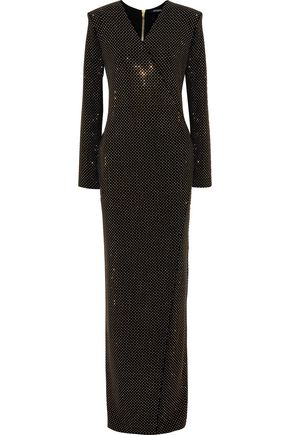 BALMAIN Wrap-effect studded jersey gown