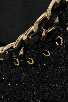 BALMAIN Fringed embellished metallic tweed dress