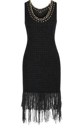 3c7e6ca43a61 BALMAIN Fringed embellished metallic tweed dress