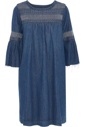 CURRENT/ELLIOTT Embroidered denim mini dress