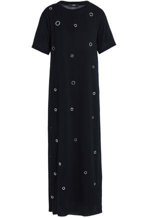 VERSUS VERSACE Eyelet-embellished crepe de chine midi dress