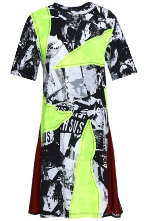 VERSUS VERSACE Appliquéd printed cotton-jersey mini dress