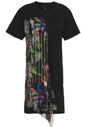 VERSUS VERSACE Printed silk georgette-paneled cotton-jersey mini dress
