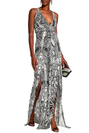 4f31f7583ef098 JUST CAVALLI Cutout printed ponte maxi dress