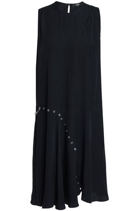 VERSUS VERSACE Eyelet-embellished cutout satin-crepe dress