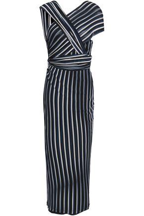 DIANE VON FURSTENBERG Wrap-effect striped stretch-knit midi dress