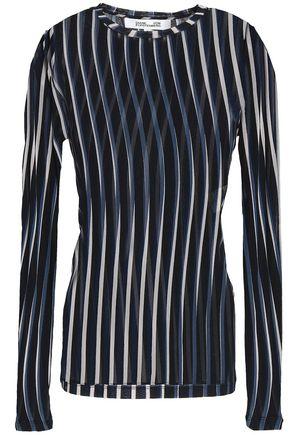 DIANE VON FURSTENBERG Striped stretch-mesh top