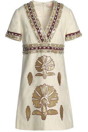 TORY BURCH Leather-appliquéd embellished linen mini dress