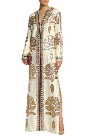 TORY BURCH Leather-appliquéd embellished linen maxi dress
