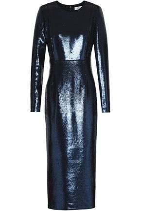 DIANE VON FURSTENBERG Sequined stretch-knit midi dress